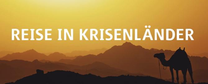 "Kamelsilhouette am Sonnenuntergang ""Reise in Krisenländer"""