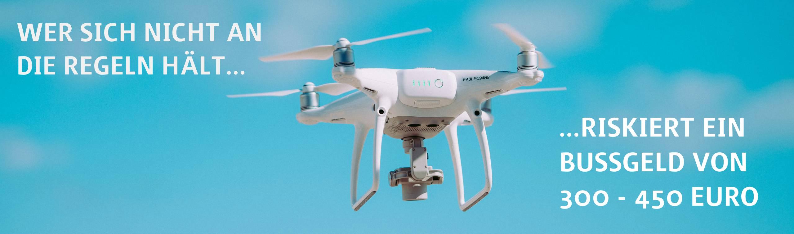 Wer seine Drohne ohne passenden Versicherungsschutz aufsteigen lässt riskiert ein Bußgeld von 300-450 Euro