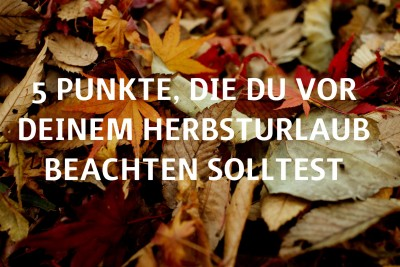 """Herbstliches Laub """"5 Punkte, die Du vor Deinem Herbsturlaub beachten solltest"""""""
