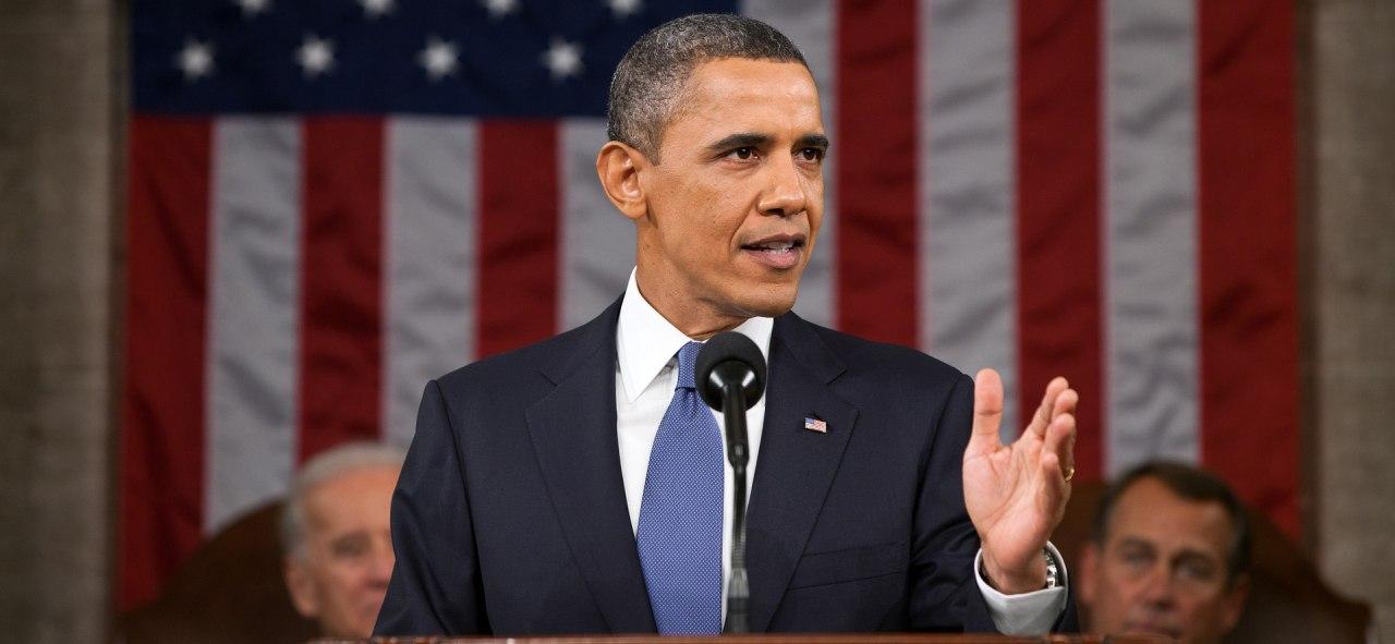 Barack Obama hält eine Rede über die Obama Care.